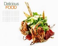 Sashimi tuna salad and deep fried soft crab. Stock Photo