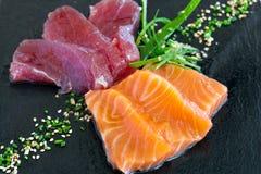 Sashimi tuna and salmon. Royalty Free Stock Photos