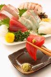 Sashimi of the tuna, sea bream、yellowtail, squid and shrimp Stock Photography