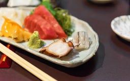 Sashimi ustawia - Japońskiego jedzenie, Tokio, Japonia Zakończenie fotografia royalty free