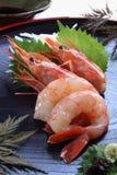 Sashimi van garnalen met sojasaus Stock Afbeelding