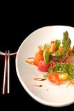 Sashimi on a white plate with chop sticks Royalty Free Stock Photos