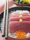 Sashimi of Yellow Fin Tuna on Rice with Salmon Roe Royalty Free Stock Images