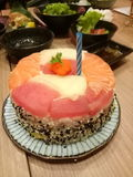 Sashimifödelsedagkaka Arkivbilder