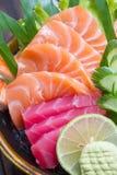 Sashimisatz der rohen Meeresfrüchte Stockbild