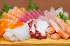 Sashimiuppsättning för rå skaldjur Royaltyfria Bilder
