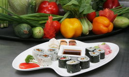 SASHMI OR SUSHI. Sashimi or Sushi is a Japanese dish consisting of small balls or rolls of vinegar-flavoured cold rice served with a garnish of vegetables, egg Stock Image