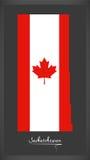 Saskatchewan Canada map with Canadian national flag illustration Stock Images