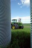 Saskatchewan Farm Canada. Crop storage silos and equipment on a large praire farm in Saskatchewan, Canada stock image