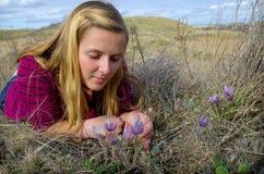 Saskatchewan fjäderkrokus och flicka Royaltyfria Bilder