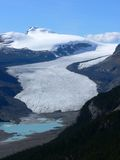 Saskatchewan Glacier. (part of the Columbia Icefield) viewed from Parker Ridge. Banff National Park, Alberta, Canada Stock Photography