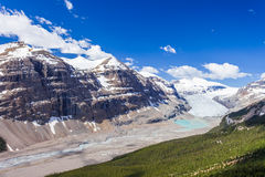 Saskatchewan-Gletschertal, Jasper National Park, Kanadier Rocky Mountains lizenzfreies stockfoto