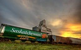Saskatchewan Grain Elevator. Tuxford rail car transportation Stock Images