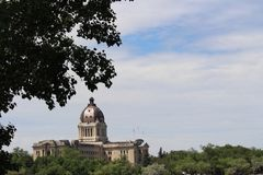 Saskatchewan Legislature with newly refurbished copper dome Royalty Free Stock Images