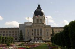 Saskatchewan Legislature. An outdoor shot of the Saskatchewan Legislature with the beautiful flower garden in the front Stock Photos