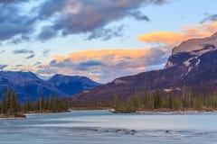 Saskatchewan river, Alberta, Canada. Sunset at the Saskatchewan Rockies Mountains, Alberta, Canada Royalty Free Stock Photos