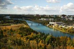 Saskatchewan river valley in edmonton. Autumn view of the north saskatchewan river valley and downtown in city edmonton, alberta, canada Royalty Free Stock Image