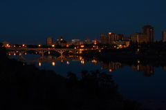 Saskatoon City Night reflexion in River Royalty Free Stock Photography