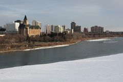 Saskatoon Cityscape, Saskatchewan River Winter Stock Photography