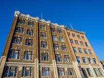 Saskatoon heritage buildings. SASKATOON, CANADA - DEC 25: Profile of typical older stone buildings on December 25, 2014 in the urban centre of Saskatoon stock images