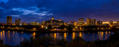 Saskatoon skyline. SASKATOON, CANADA - JULY 2: Saskatoon skyline along the Saskatchewan River on July 2, 2016 in Saskatoon, Saskatchewan, Canada. Saskatoon is Stock Image