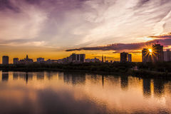 Saskatoon Skyline. The skyline of Saskatoon, Canada at sunset royalty free stock photo