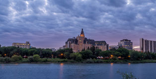 Saskatoon skyline at night Stock Photo