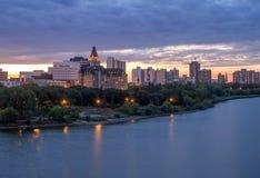 Saskatoon skyline at night Stock Image