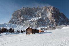Saslong, Italiaanse Dolomiti Royalty-vrije Stock Afbeelding