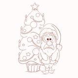 Sasnta Claus ed albero di Natale Royalty Illustrazione gratis