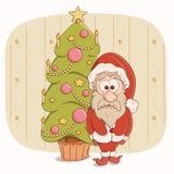 Sasnta Claus ed albero di Natale Illustrazione di Stock