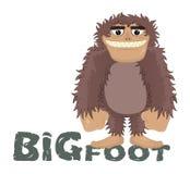 Sasquatch drôle de bande dessinée de vecteur, yeti, sourire amical de position de Bigfoot Homme des cavernes debout et souriant t illustration libre de droits