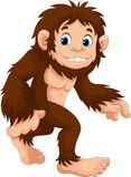 Sasquatch walking cartoon Stock Images