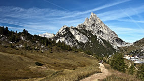 Sass de Stria mountain peak with Passo Falzarego in Dolomites Stock Photography