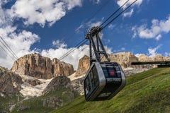 Sass Pordoi cableway. Dolomites landscape in north Italy, Sass Pordoi Stock Photography