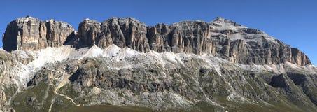 Sass Pordoi - Dolomites. Sass Pordoi seen from the path lookout, Dolomites - Italy stock photo