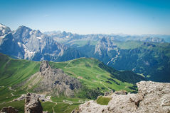 Sass Pordoi, Dolomites, Italy. It`s possible to arrive at this beutifull place with cableway, this spot is called terrace of Dolomites Stock Photo