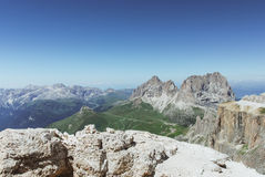 Sass Pordoi, Dolomites, Italy. It`s possible to arrive at this beutifull place with cableway, this spot is called terrace of Dolomites Royalty Free Stock Photography