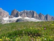 Sass Pordoi. Dolomites mountains, Italy Royalty Free Stock Photos