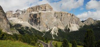 Sass Pordoi in the Italian Dolomites, as seen from Passo Sella. Royalty Free Stock Photography