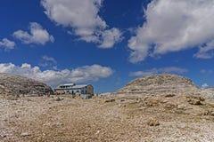 Sass Pordoi landscape. Dolomites landscape in north Italy, Sass Pordoi 2950mt piz Boè hut Royalty Free Stock Image