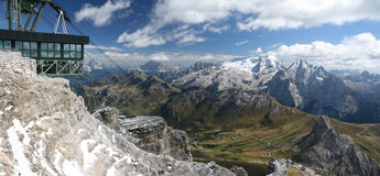 Sass Pordoi mountain. Photo taken in Italy in the famous Dolomites mountains stock photography