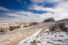 Sass Pordoi plateau in Dolomites, Italy, Europe Stock Image