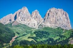 Sass Pordoi south face (2952 m) in Gruppo del Sella, Dolomites m Royalty Free Stock Photo
