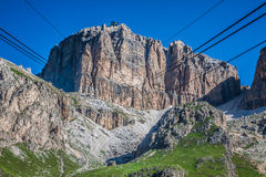 Sass Pordoi south face (2952 m) in Gruppo del Sella, Dolomites m Royalty Free Stock Photo