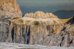 Sass Pordoi south face (2952 m) in Gruppo del Sella, Dolomites m Royalty Free Stock Image