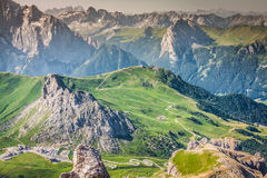 Sass Pordoi south face (2952 m) in Gruppo del Sella, Dolomites m Royalty Free Stock Image