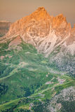 Sass Pordoi south face (2952 m) in Gruppo del Sella, Dolomites Royalty Free Stock Photo