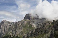 Sass Pordoi und Sella-Gruppe Dolomiti Stockfotos
