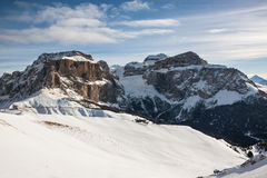 Sass Pordoi (in the Sella Group) with snow in the Italian Dolomites Royalty Free Stock Photos